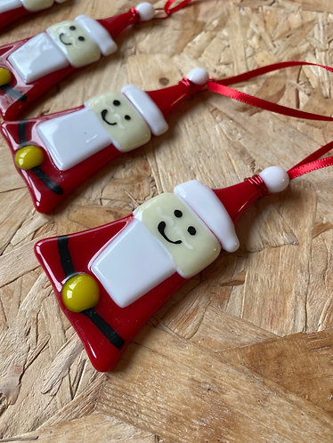 Fused Glass Happy Santa Decoration for Christmas