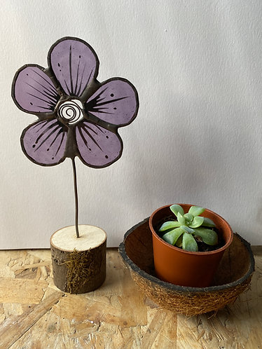 Stained Glass Flower House Plant Stake - Purple
