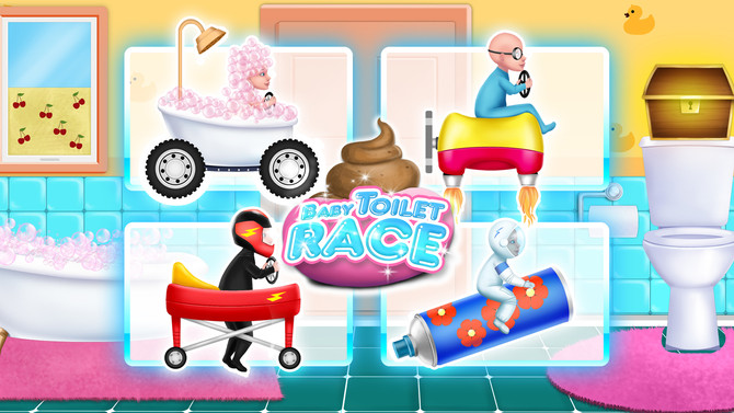 Baby Toilet Race: Cleanup Fun