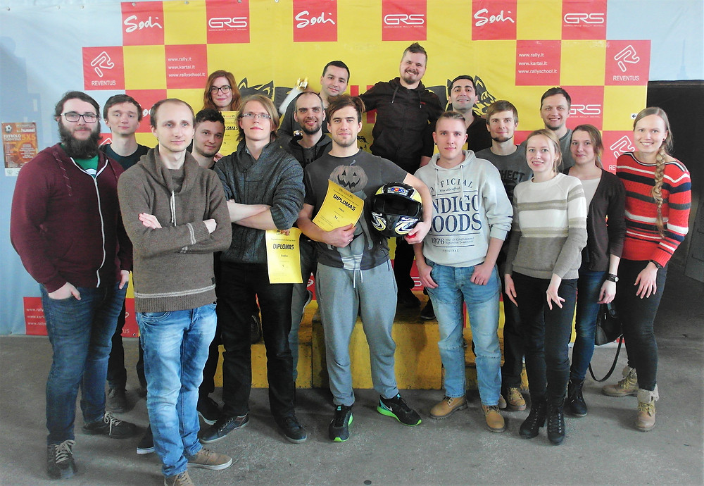 Company members after kart racing!