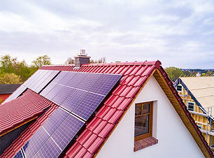 roof with photovoltaic system or solar m