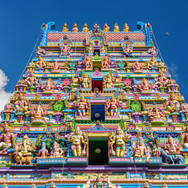 facade of a Hindu temple in Victoria, Ma