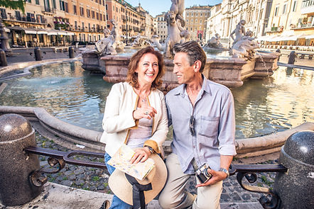 Senior couple at Navona square, Rome - H