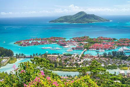 Red roofs of Eden Island, aerial view of
