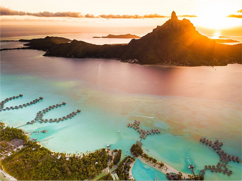 Aerial view of Bora Bora with red sunset