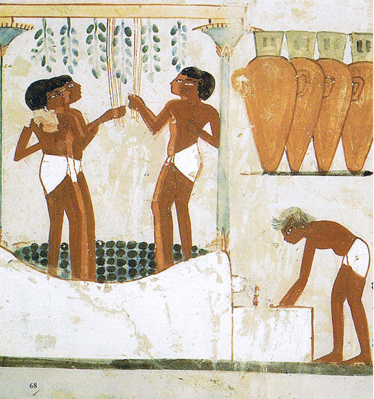 Artistic rendering of grapes being trodden in preparation for winemaking (Tomb of Nakht, 18th dynasty, Egypt