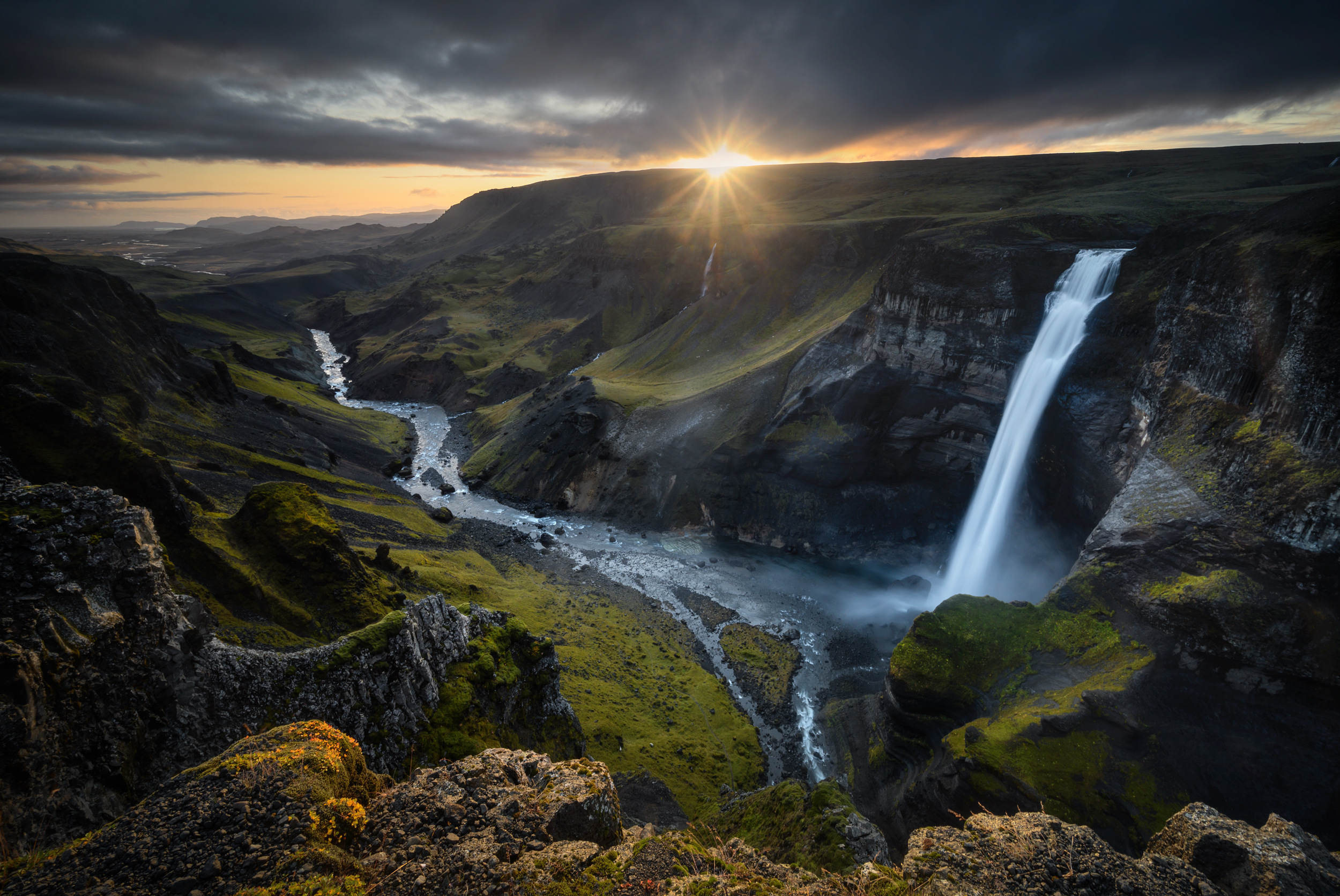 Sunset at Haifoss Waterfall