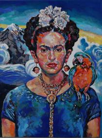Frida, diego y el Popocatepetl
