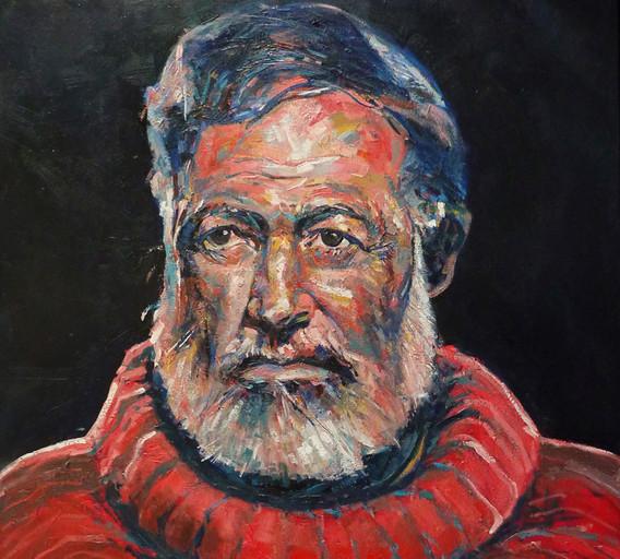 Ernest Hemingway, huile sur toile, 2017,