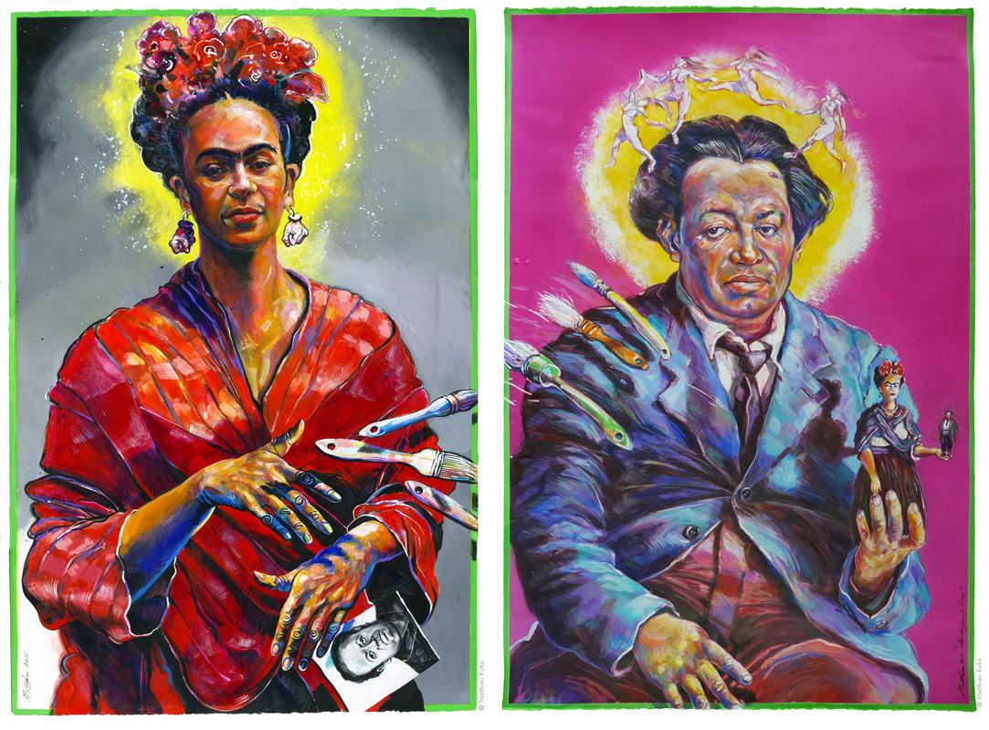 Frida Kahlo et Diego Rivera, Acrylique e