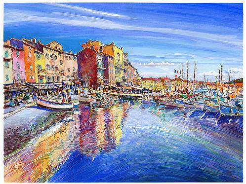 Saint-Tropez, le port. 2019. Tirage d'Art, signé, numéroté, limité