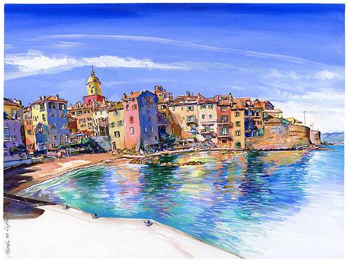 Saint-Tropez, quai de la Ponche 2019. Tirage d'Art, signé, numéroté, limité