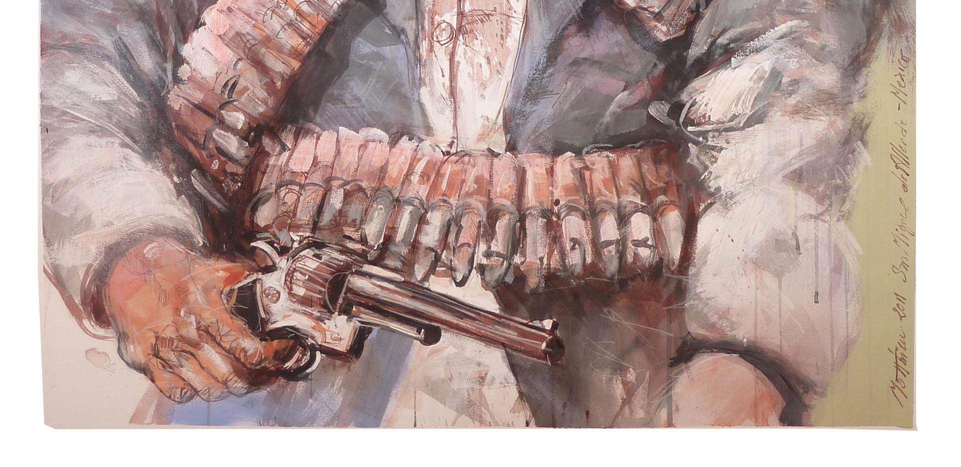 Pistoleros 1, Acrylique et encre sur pap