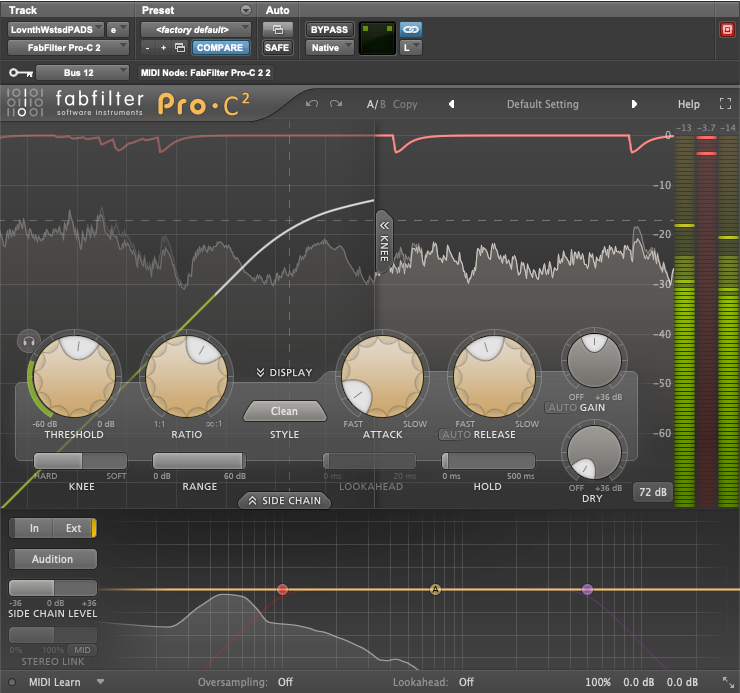 fabfilter Pro-C2 on an Instrument Buss