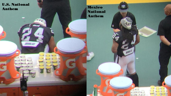 Marshawn Lynch sits for US anthem, stands for Mexican anthem..... Is anyone surprised at this point?