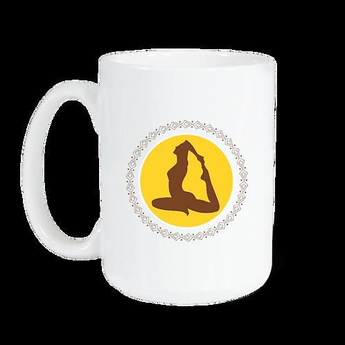 Taza blanca brillante con imagen de Yoga Circular