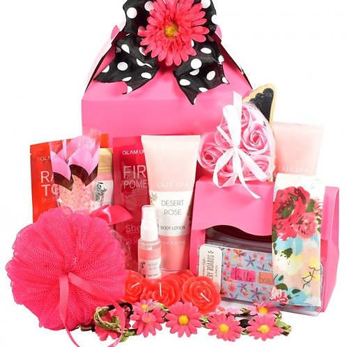 Pretty in Pink Glamor Gift Basket in a Box