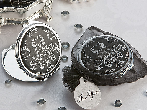 """""""Diva in Damask"""" Black and White Compact Mirror Favor"""