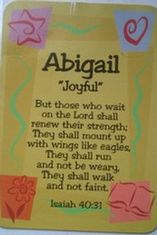 A - J Female DayDream Name Cards with Bible Verse