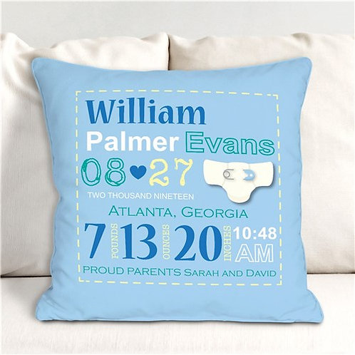 Boy Birth Announcement Personalized Throw Pillow