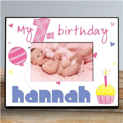 Baby Girl's 1st Birthday Printed Frame