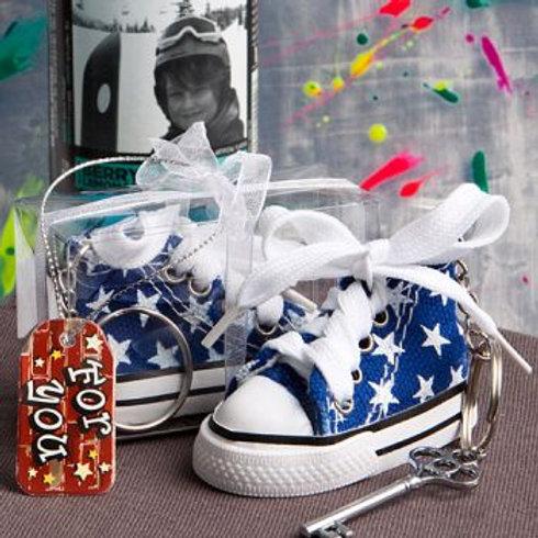 Oh So Cute Blue Star Print Baby Sneaker Keychain