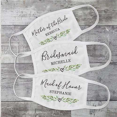 Bridal Party Face Mask Personalized