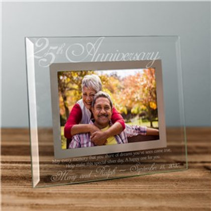 25th Anniversary Personalized Glass Picture Frame