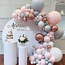 White Gift Basket with Pretty Balloons G