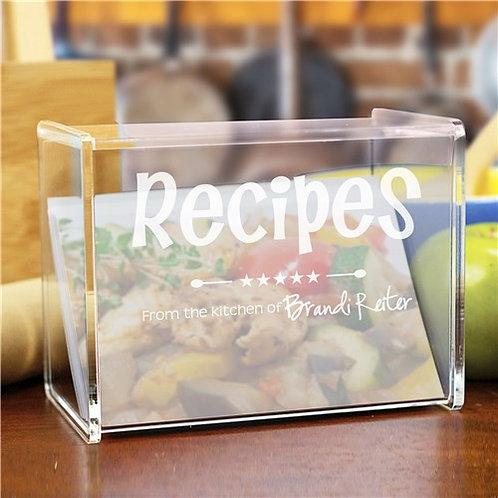 Engraved Kitchen Acrylic Recipe Box