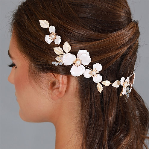 Bridal Hair Vine with Pink Enamel Metal Flowers
