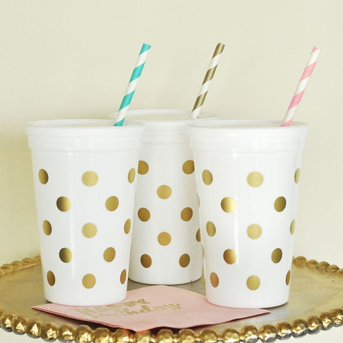 White & Gold Polka Dot Party Cups w/Lids