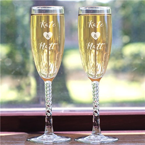 Engraved Bride and Groom Flute Set