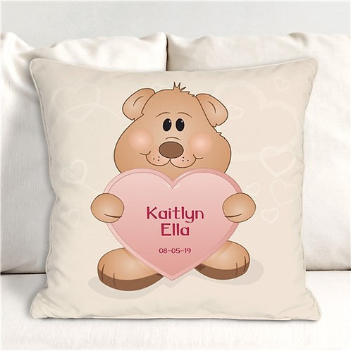 Personalized Girl Teddy Bear Pillow