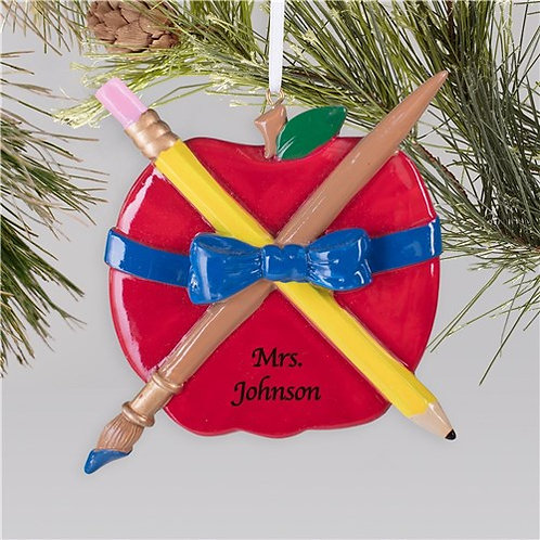 "Teachers 4"" Apple Ornament Personalized with Name"