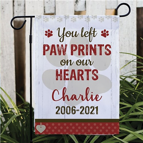 You Left Paw Prints on Our Heart Garden Flag