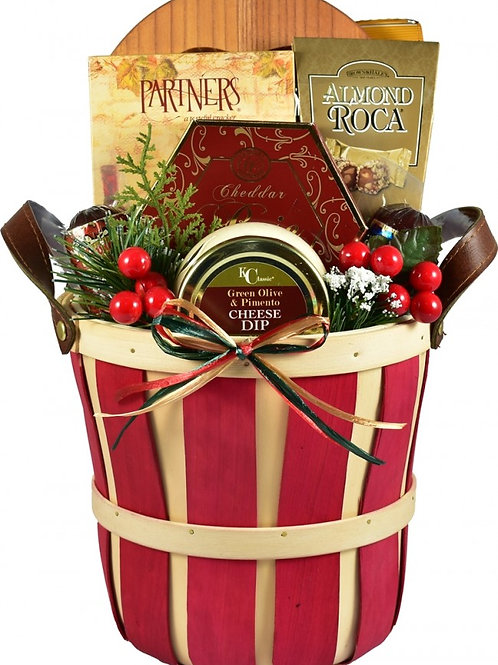 Festive Holiday Christmas Gift Basket