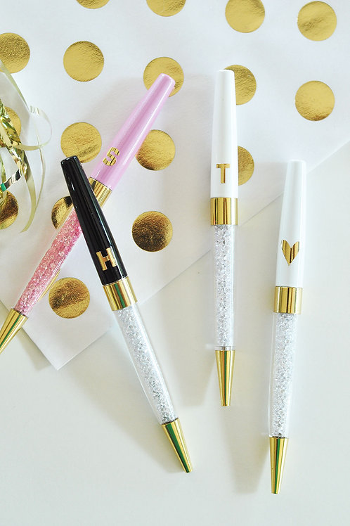 Glossy Gold Monogrammed Pens (Sold in Sets of 3)