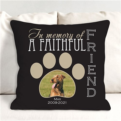 A Faithful Friend Personalized Memorial Photo Throw Pillow