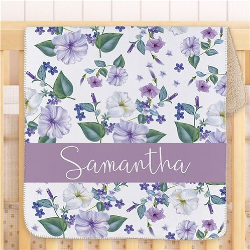 "Personalized Petunias 39"" Baby Sherpa Blanket"