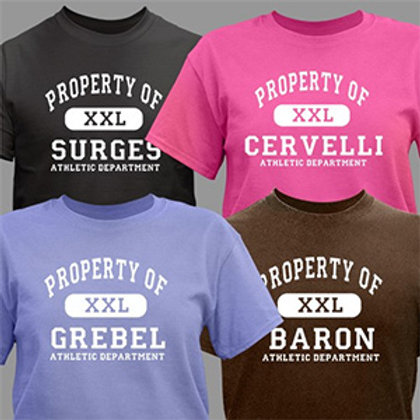Personalized Property of Athletic Department T-Shirt