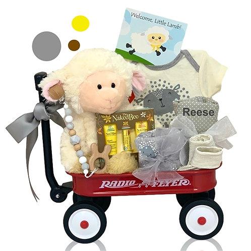 Welcome Little Lamb Wagon Gift Basket