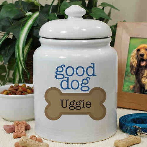 Good Dog Personalized Ceramic Treat Jar with Lid