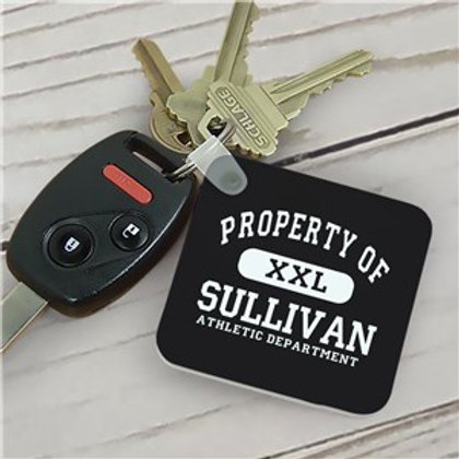 Personalized Property of Athletic Department Black Keychain