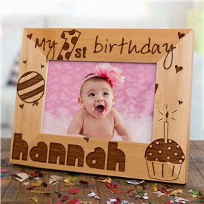 Baby Girl 1st Birthday Wood Picture Frame