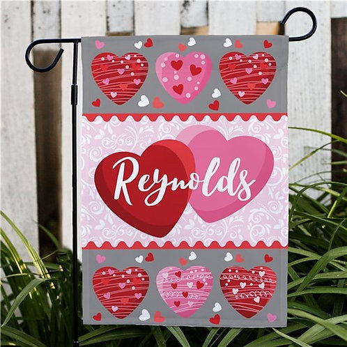 Personalized Family Hearts Garden Flag