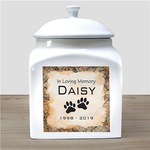 In Loving Memory Pet Urn with Dog Paws Personalized