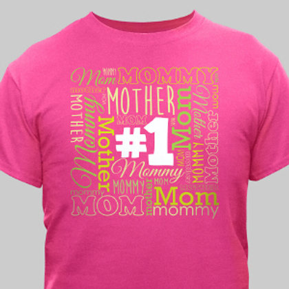 Womens #1 Mom Hot Pink T-Shirt