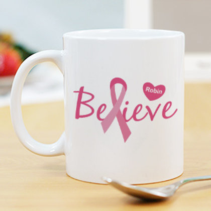 Believe - Breast Cancer Awareness Personalized Coffee Mug