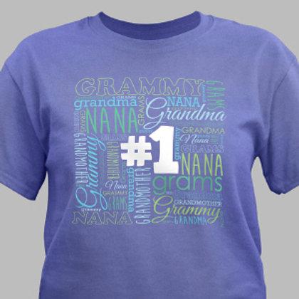 Womens #1 Grandma Violet T-Shirt